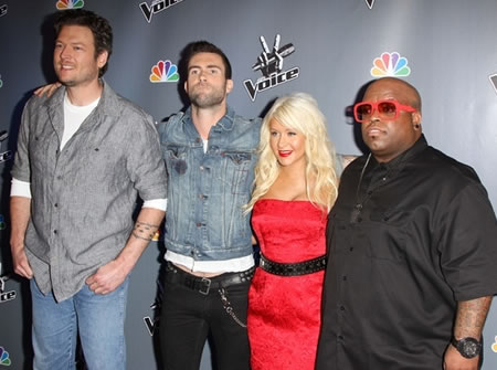 The originals Adam Levin, Christina Aguilera, Cee Lo Green and Blake Shelton